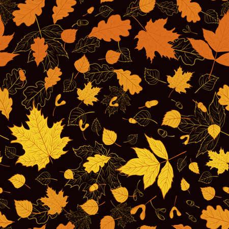 Vektorblumenmuster mit goldenem Herbstlaub auf schwarzem Hintergrund für Saisondesign. Nahtlose florale Textur. Hintergrund.