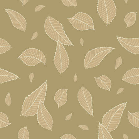 Seamless vector floral pattern with small leaves in monochrome beige colors for fabric or textile design. Ditsy print.