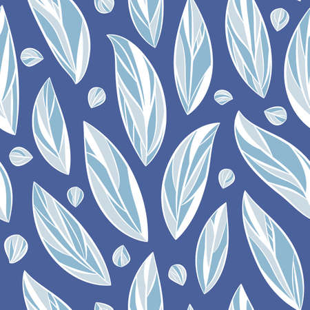 Seamless vector floral pattern with abstract leaves in white and blue colors for fabric, textile or wallpaper design.