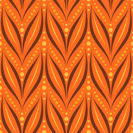 Seamless vector ornamental pattern with abstract floral and geometric elements in bright orange colors for fabric, textile, or wallpaper design Illusztráció