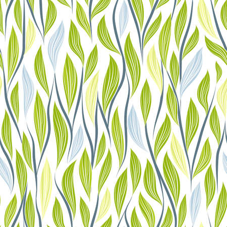 Seamless vector floral pattern with abstract leaves and branches in blue and green colors on white background for fabric, textile, or wallpaper design