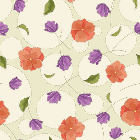 Seamless vector floral pattern with abstract flowers in pastel red and purple colors. Polka dot background with embroidery and rhinestone imitation for fabric, textile, or wallpaper design 矢量图像