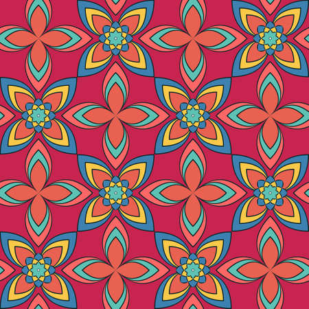 Seamless vector geometric floral pattern with flowers and leaves in bright colors on pink background. Colorful ornament with asian motif for fabric, textile, or wallpaper design Ilustrace