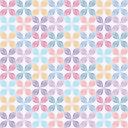 Seamless vector floral geometric wallpaper with abstract leaves in bright colors on white background. Colorful pattern with earsten motif for fabric, textile, or wallpaper design