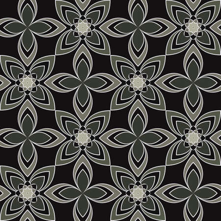 Seamless vector geometric floral pattern with flowers and leaves in monochrome gray, white colors on black background. Ornamental print with asian motif for fabric, textile, or wallpaper design