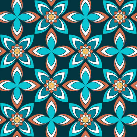 Seamless vector geometric floral pattern with flowers and leaves in bright blue and pink colors on dark background. Colorful ornament with asian motif for fabric, textile, or wallpaper design