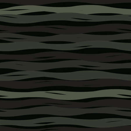 Seamless vector abstract pattern with painted waves in monochrome black and white colors on dark background. Wave print in modern style for fabric, textile, or wallpaper design