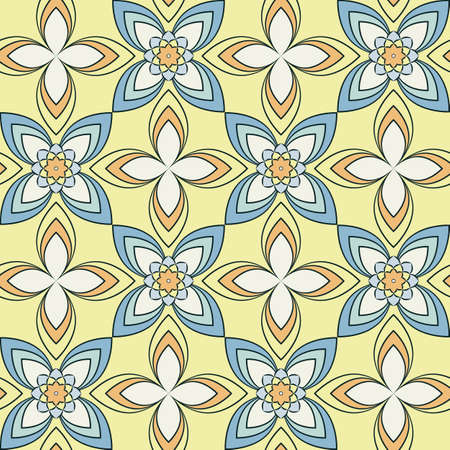 Seamless vector geometric floral pattern with flowers and leaves in pastel blue colors on yellow background. Colorful ornament with asian motif for fabric, textile, or wallpaper design