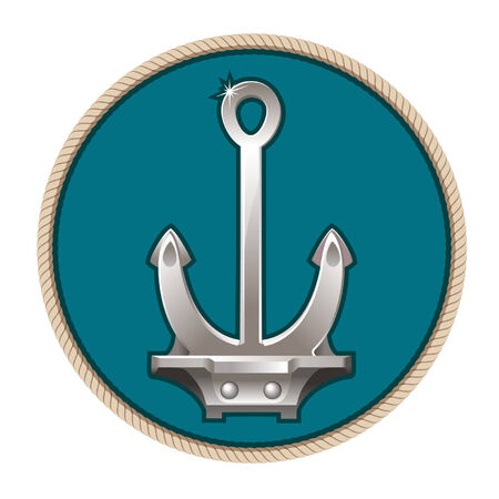 Vector illustration of silver anchor on the blue background