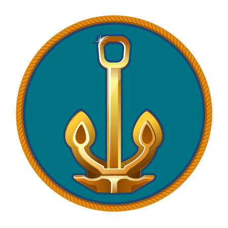 Vector illustration of gold anchor on the blue background Иллюстрация