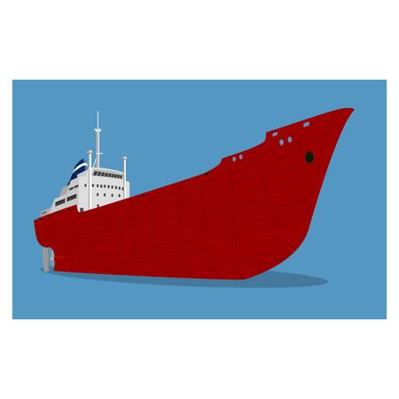 Vector illustration of red cargo ship