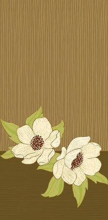Vertical background with flowers and leaves