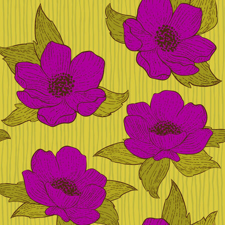 Floral seamless pattern, retro style