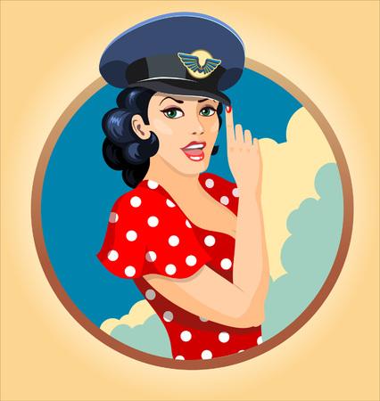 szüret: Vektoros illusztráció egy gyönyörű lány peak-cap