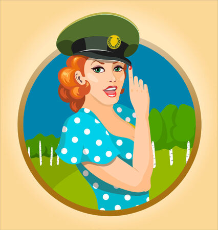 army girl: Vector illustration of a beautiful girl in peak-cap