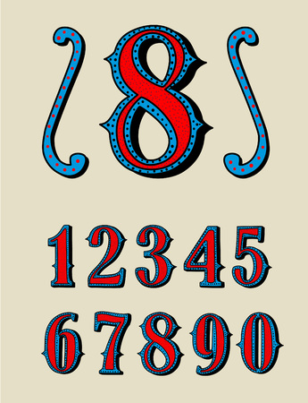 Old decorative numbers vector set. Wild west style numbers on the grange background for invitations, posters, greeting card