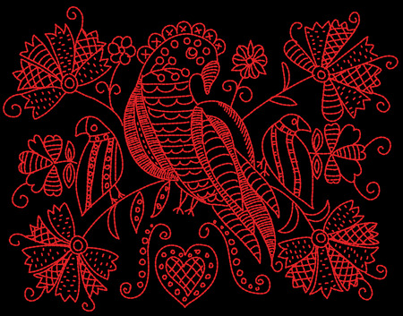 Embroidery pattern with birds and flowers in folk style.