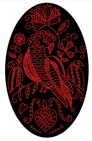 Embroidery pattern with birds and flowers in folk style in oval shape.