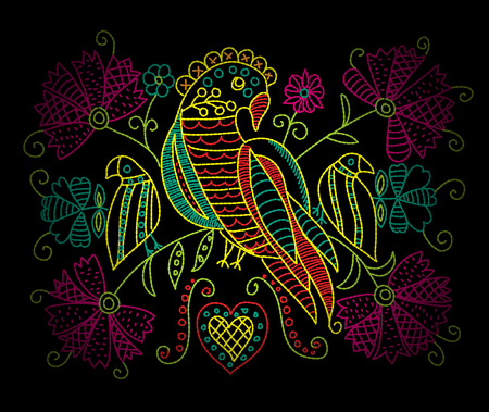 Colorful neon embroidery pattern with birds and flowers in folk style. Иллюстрация