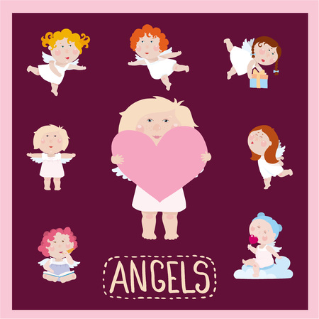 Set of cute litle baby angels in flat style Иллюстрация