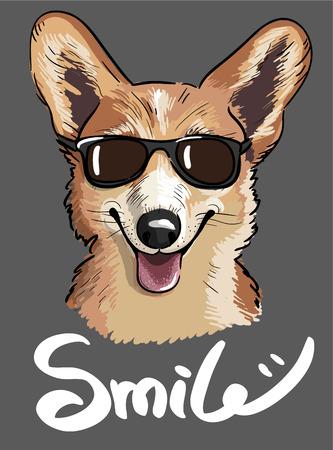 Stylish print of Welsh corgi dog wearing sunglasses in sketch style.