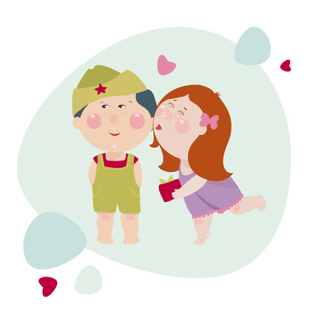 Girl kisses a boy and gives a present to him. Girl congrats a boy in the military uniform. Cute children illustration in cartoon style for 23 february. Иллюстрация