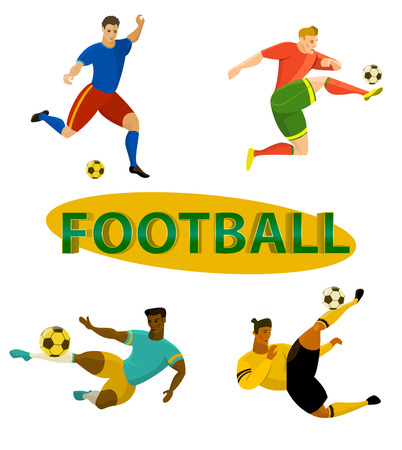 Set of football (soccer) players vector illustrations and 3d title word football. Flat style drawing of an athlete kicking a ball. Иллюстрация