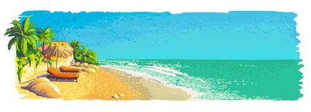 Tranquillo paesaggio privato soleggiato spiaggia tropicale con palme, lettini, ombrellone. Illustrazione della pittura di vettore.