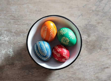 Easter eggs beeswax painted in east European style