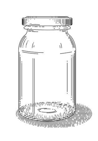 Old style line drawing of glass jar - vintage like illustration on white background. Ilustrace
