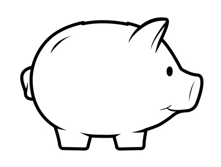 Cute piggy bank icon. Drawing of isolated money container in shape of nice pig.