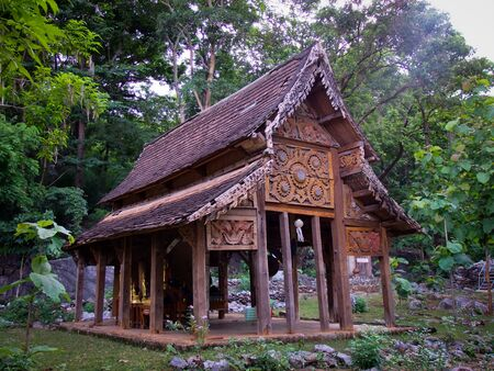 Wood Temple in Lamphun thailand Stock Photo