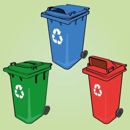afvalbak: prullenbak Stock Illustratie
