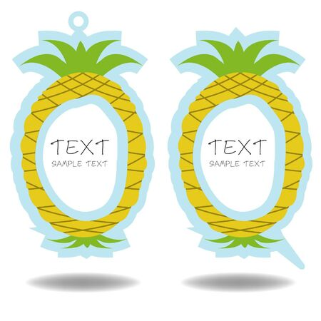 fruitage: pineapple speech bubble and price tag vector