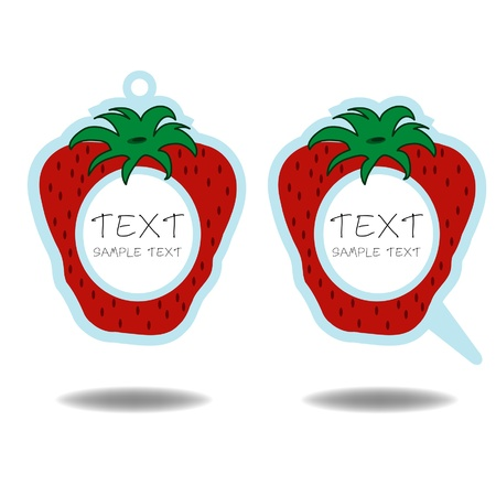 strawberry  speech bubble and price tag vector Vector