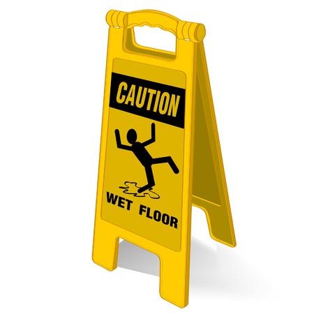 slippery floor: caution wet floor sign vector Illustration