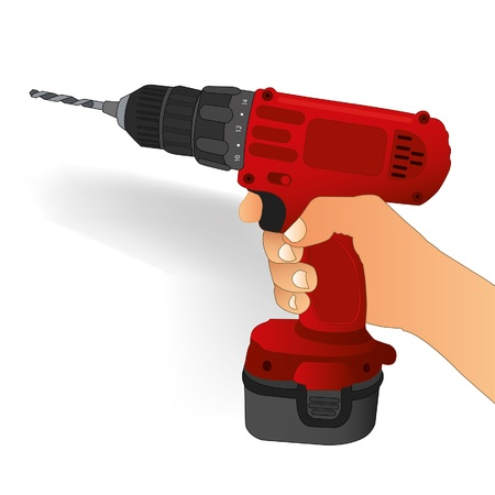 cordless drill in hand Stock Vector - 16591664
