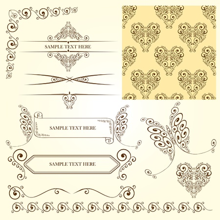set of vintage calligraphic elements and page decorations Vector