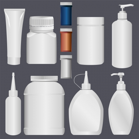 プラスチック瓶、ローションのプラスチック製のチューブ  イラスト・ベクター素材