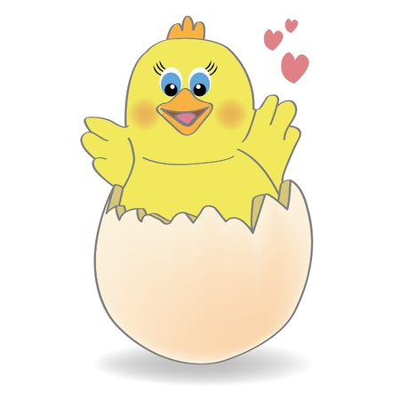 cracked egg: chicken coming out of a  egg Illustration