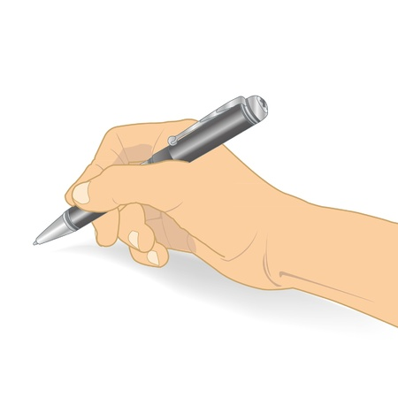 hand holding a pen writing vector