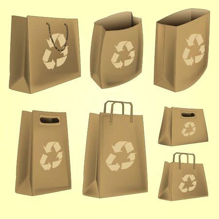 paper bag with recycle logo Vector