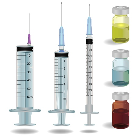 syringe and medicine vials vector illustration