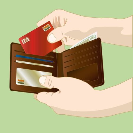 empty wallet: hand holding  leather wallet vector