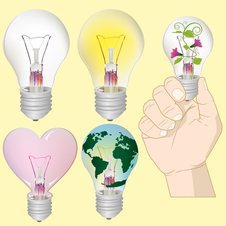 Light bulb idea collection Stock Vector - 18237096
