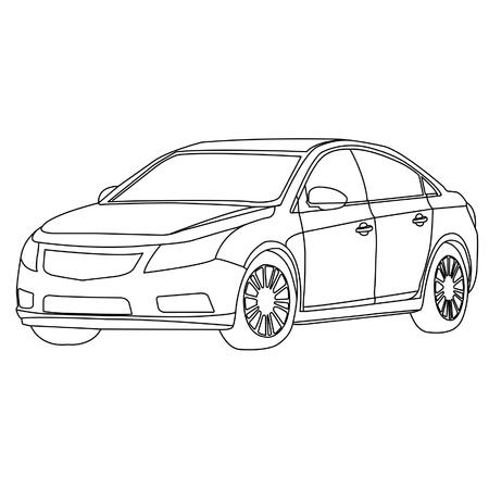 contorno: coche contorno Vectores