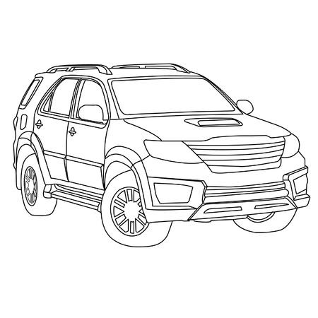 suv car outline Illustration