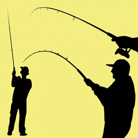 man fishing vector Vector