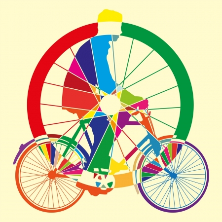 bicycle wheel art vector illustration