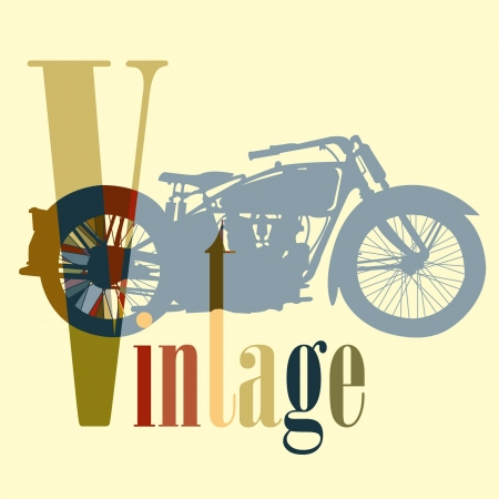 Vintage Motorcycle motorbike color art